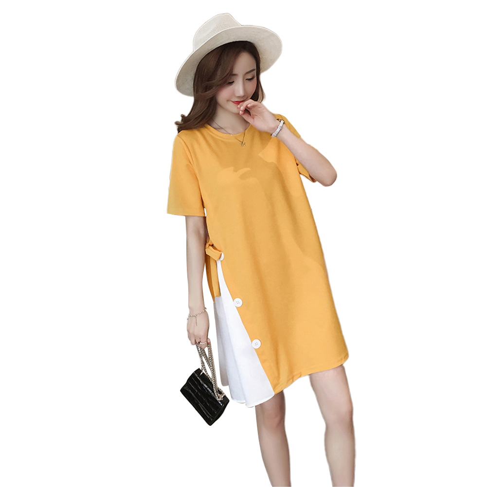 Women Maternity Stitching Round Collar Large Size Dress for Pregnant  yellow_M