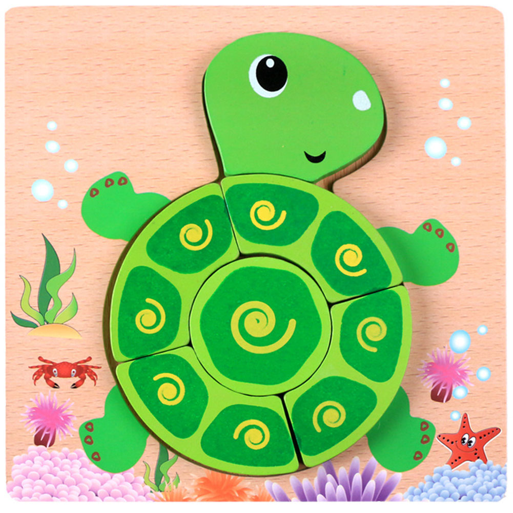 Baby Toddler Wooden Animal Bear Car Three-Dimensional Puzzle Matching Jigsaw Puzzle Toy 10# Turtle