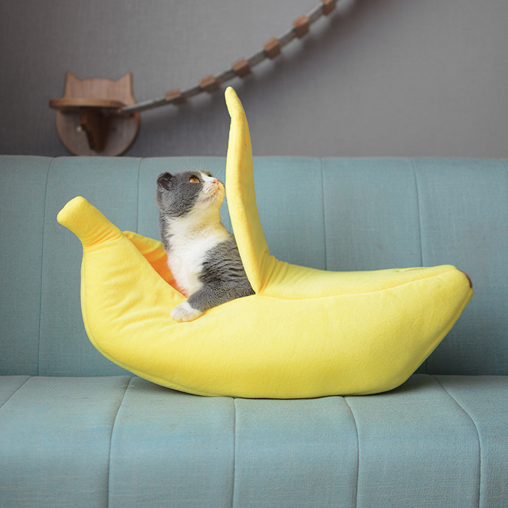 Cute Banana Peel Shape Pet Nest Warm House for Dog Cat Winter Sleeping yellow_small