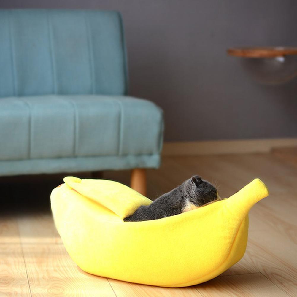 Cute Banana Peel Shape Pet Nest Warm House for Dog Cat Winter Sleeping yellow_Medium