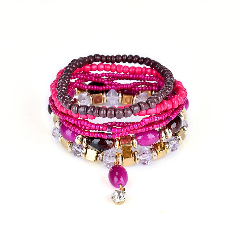 Retro Bohemian Style Colorful Handmade Beaded Jewelry Multi Layers Pendant Hypoallergenic Bracelets for Women Girl's