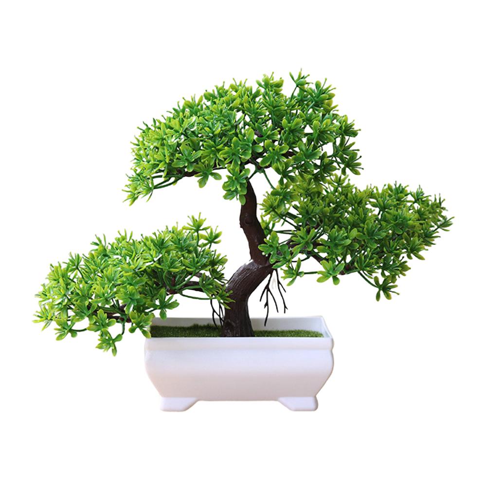 Artificial Chamaecyparis Pisifera Shape Plant Bonsai for Home Dinning Table Ornament green