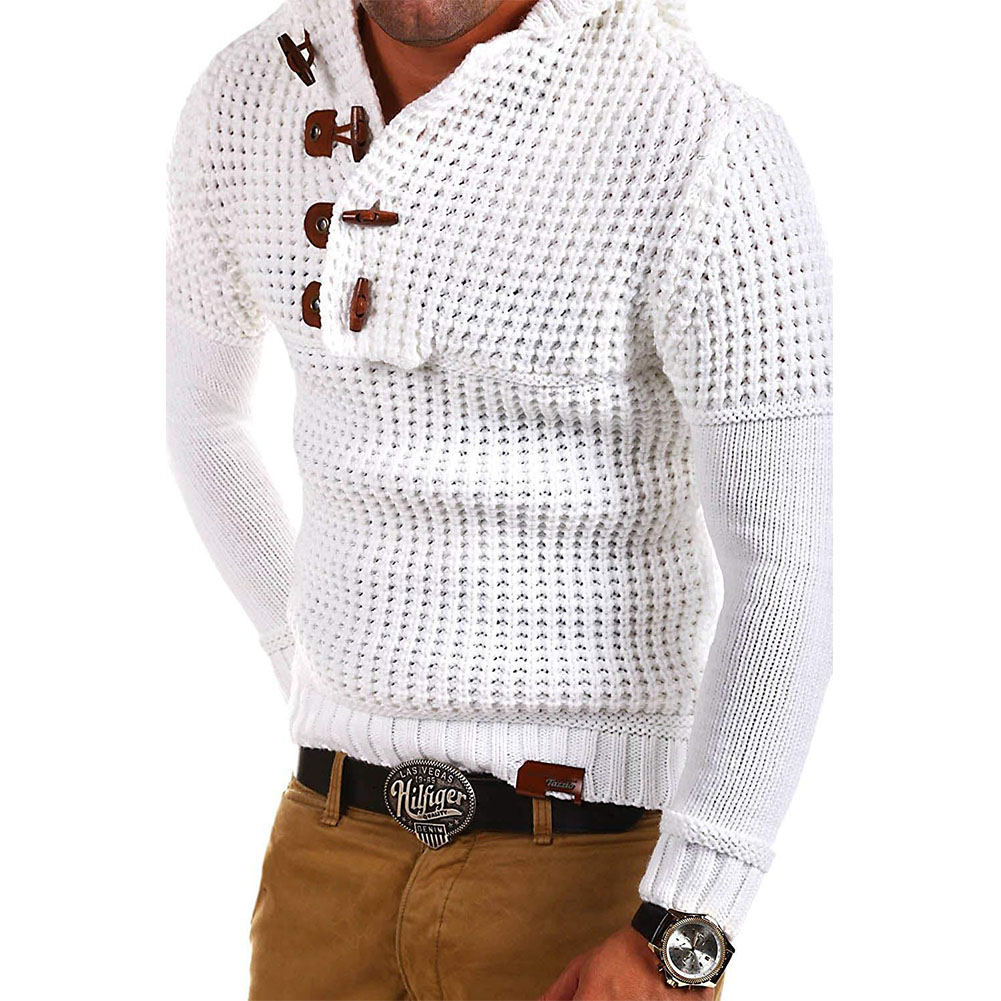 Men's Autumn Casual Long Sleeve Slim Solid Color V-neck Bottoming Shirt Sweater Horn Button Sweater Top white_XXXL
