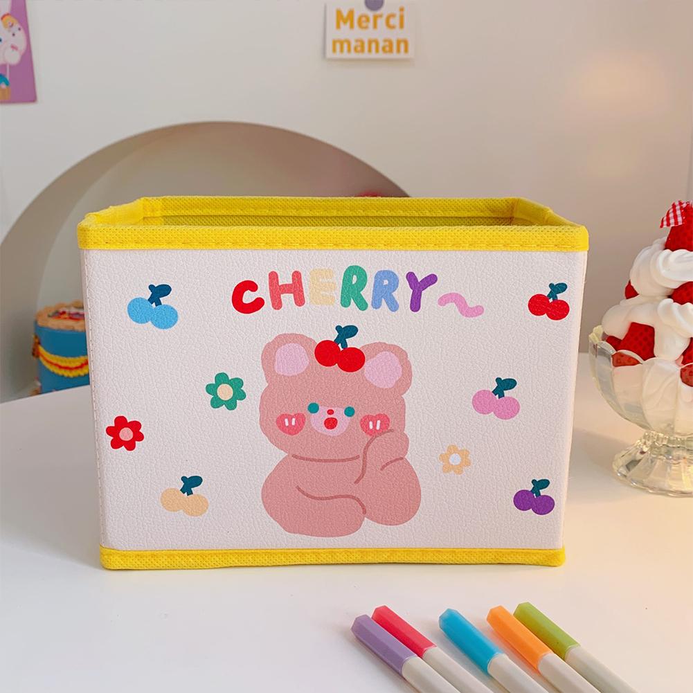 Pu  Leather  Cartoon  Storage  Box Cute Pattern Foldable Desktop Debris Sorting Storage Box 1#cherry bear