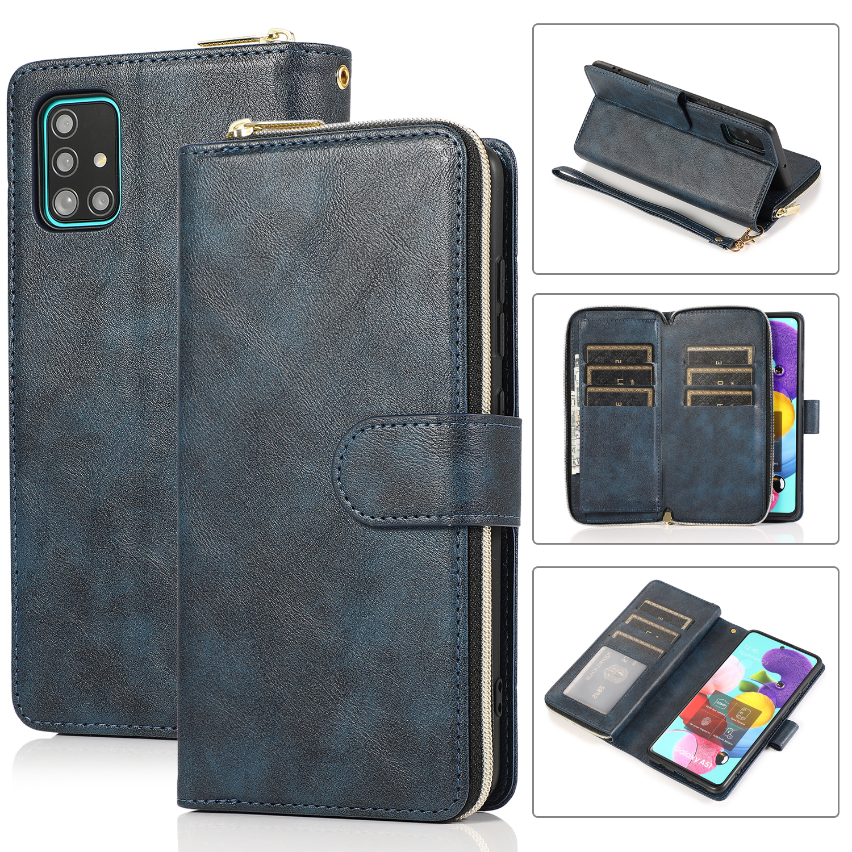 For Samsung A01/A21/A31/A41/A51 Pu Leather  Mobile Phone Cover Zipper Card Bag + Wrist Strap blue