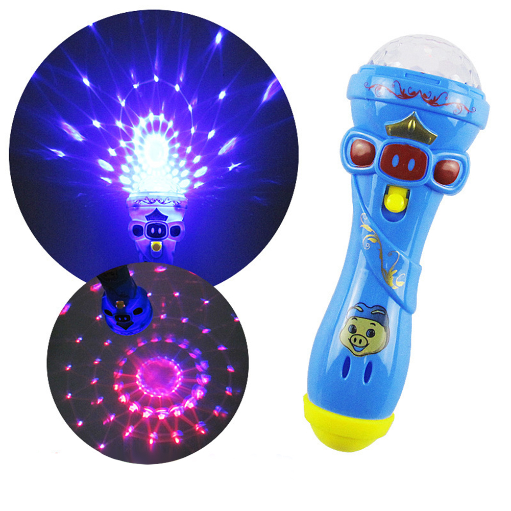 [Indonesia Direct] Children Shining Microphone Emulated Music Toys Funny Lighting Wireless Microphone Model  random