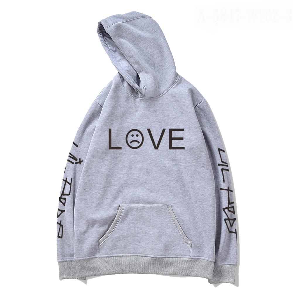 Men Women Lil Peep Loose Long Sleeve Hooded Sweatshirt A-5847-WY02-1 grey_S