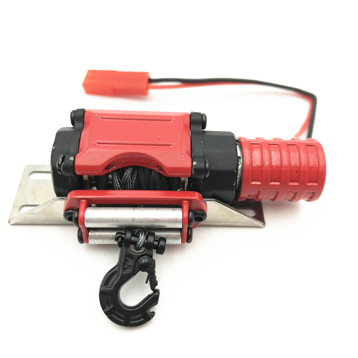 Electric Capstan Metal Winch Traction for 1/10 RC CAR SCX10 D90 D110 TF2 TRX4 KM2 Red with black hook