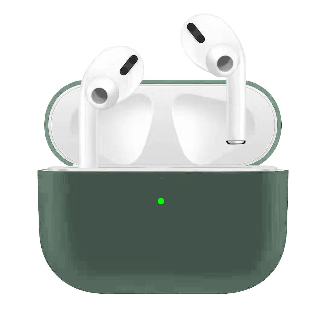 For Airpods Pro Silicone Earphone Case For Airpods Pro Shockproof Cases For Apple Bluetooth Headset Protective Cover Pine needle green