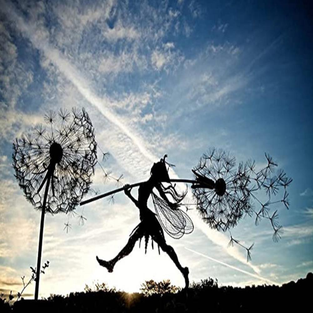Fairy On Dandelion Statue Gardening Crafts Garden Decorative  Ornaments Travel Wizard 3