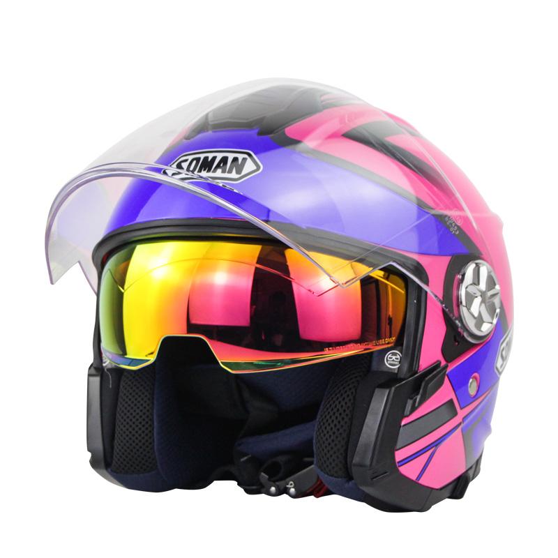 Motorcycle Helmet 3/4 Electrical Helemets Dual Visor Half Face Motorcycle Helmet   Rose Red Blue Lightning_XXL
