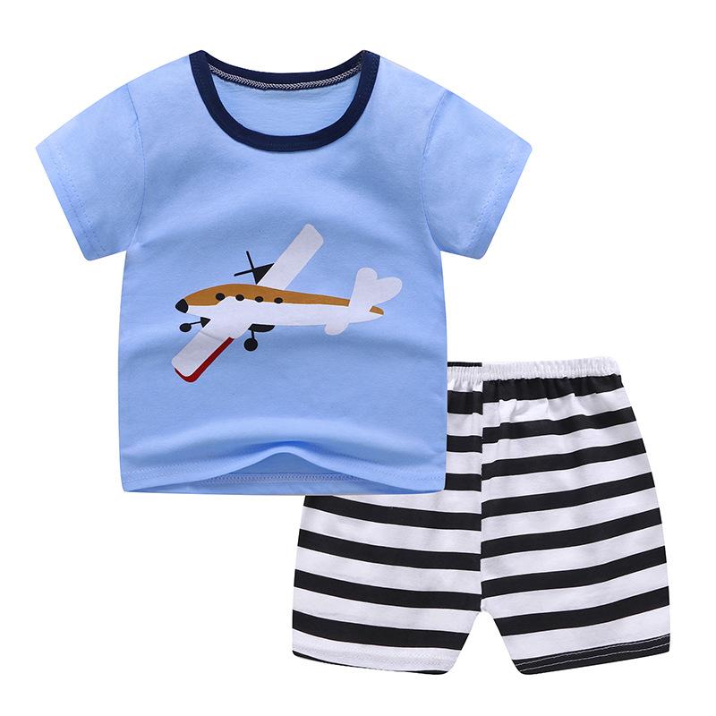 [Indonesia Direct] 2 Pcs/set Girls Boys Baby Cartoon Printing Short Sleeve Tops+Shorts Summer Suit Blue glider_70 (100-110cm)