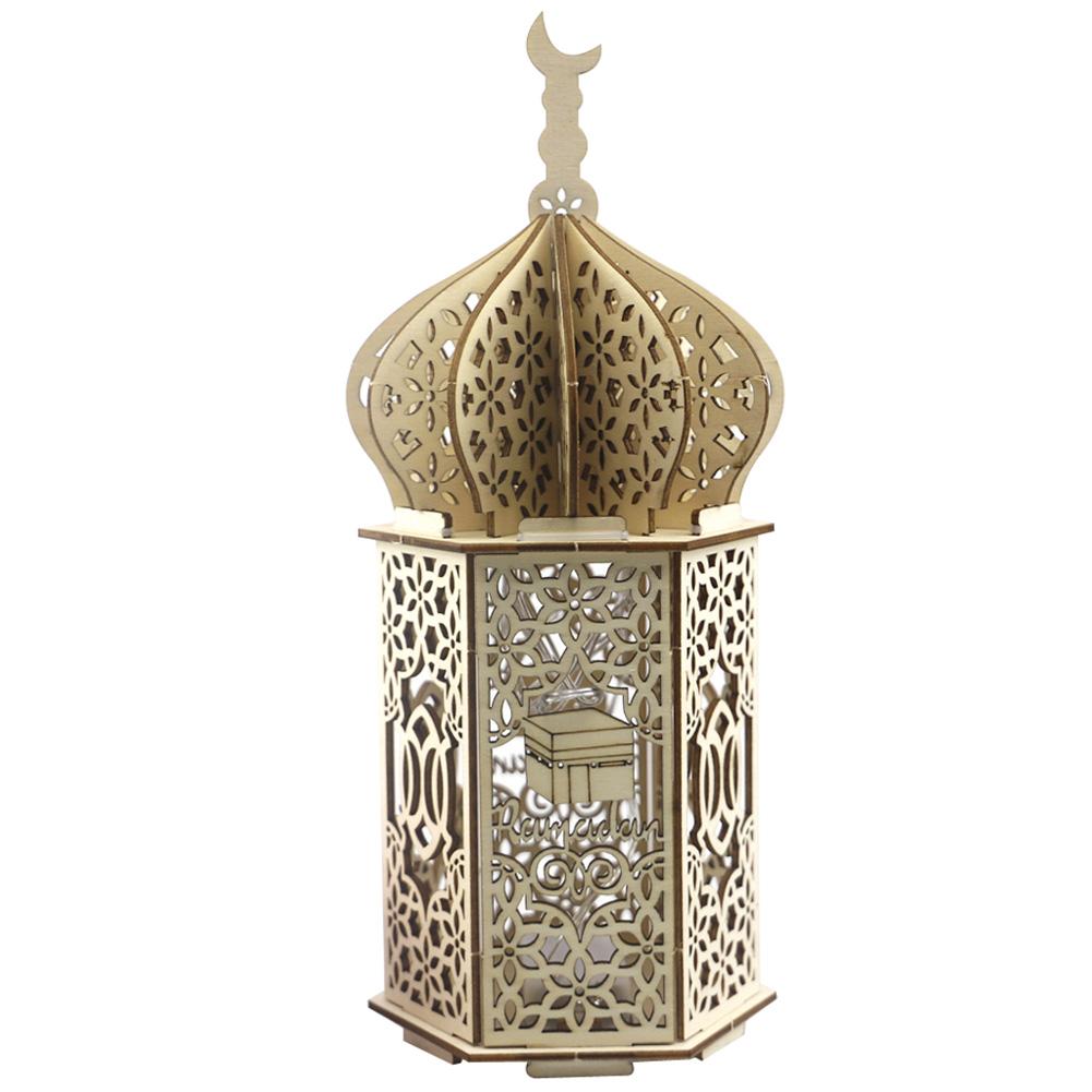 Muslim Light Wooden Lighthouse Shape Ramadan Eid Mubarak Decor for Islam Party Supplies JM01946