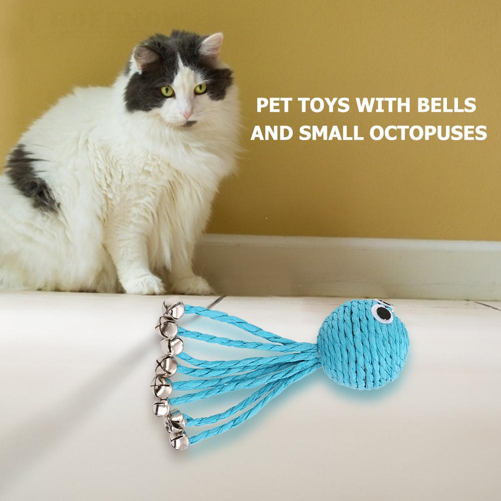 Interactive Cat  Toy Blue Rope Octopus Shape Toy With Bell Ball Pet Supplies Blue