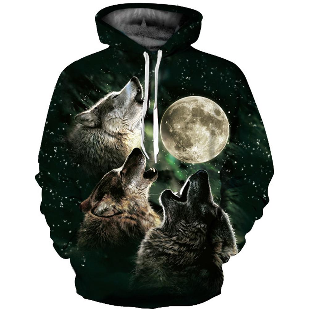 Unisex 3D Vivid Wolf Howl Printed Fashion Hooded Tops Baseball Sweatshirts as shown_S
