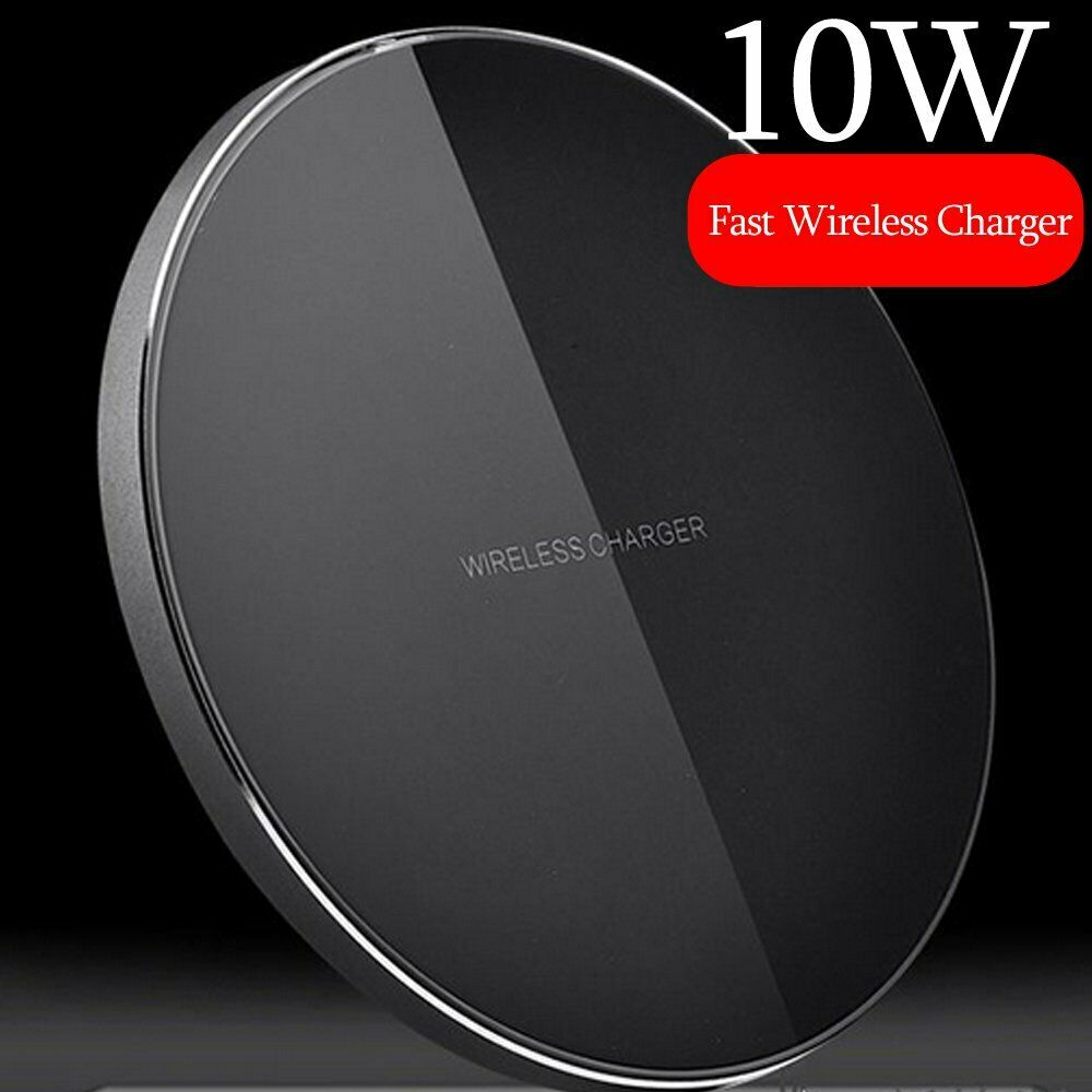 Luxury Qi Fast Wireless Charger for Samsung Galaxy S10 Plus S9 S8 S7 Note 9 8 black