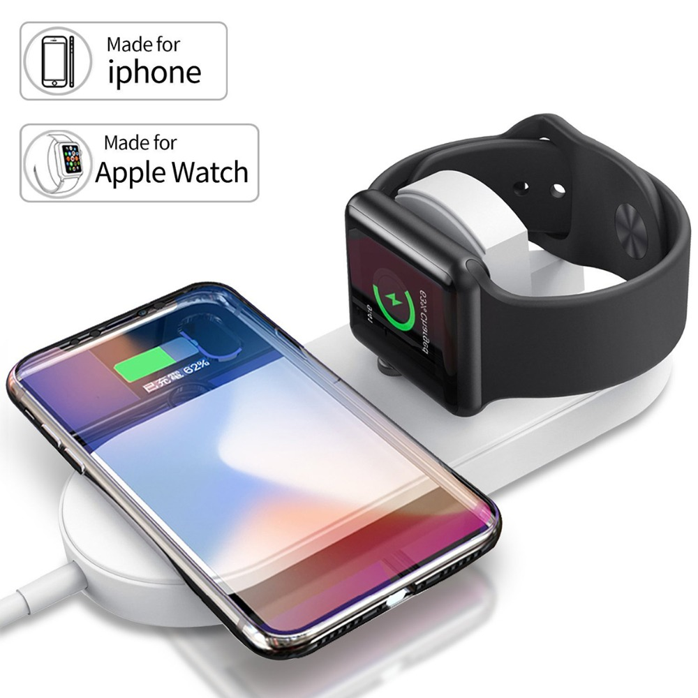 2 In 1 Fast Wireless USB Pad Phone Adapter Qi Wireless Charger Fast Charging for Apple Watch 3 iPhone X 8 plus