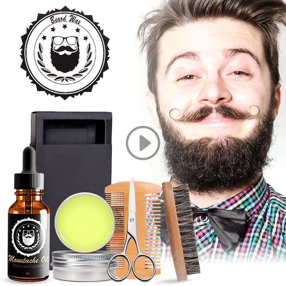 Men's Beard Care Set Contains Cream Oil Double Sided Comb Brush Scissors 5 Pcs / Set 5 piece set