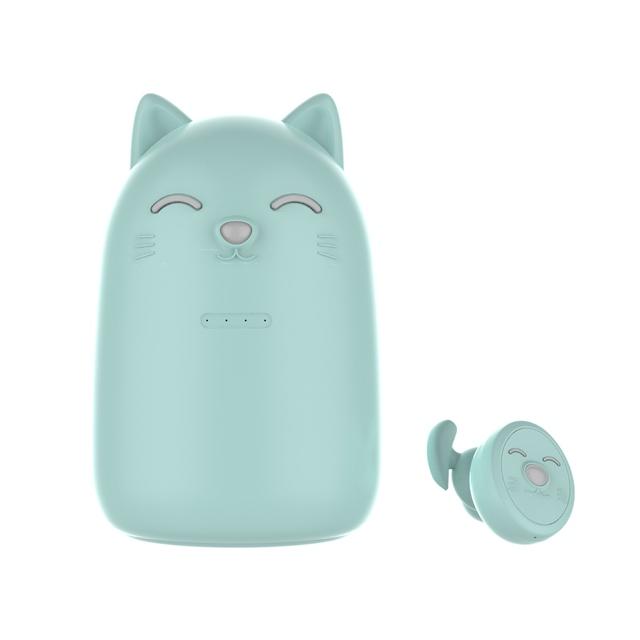 ZW-T12 Cute Cartoon Design Girl Student Wireless Bluetooth Headset Cute Tws Earphones Green
