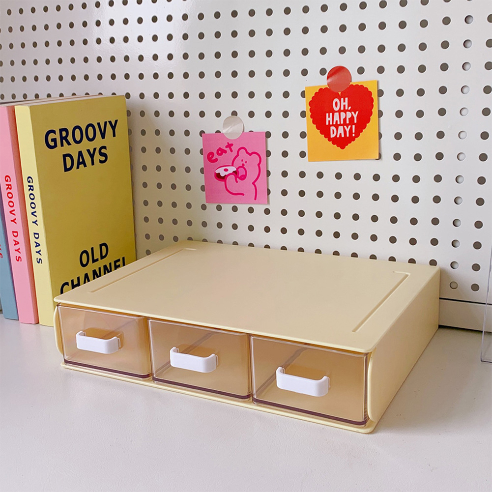 Desktop  Storage  Box Acrylic Drawer Type Dust-proof Shelf Stationery Sorting Household Box 12#Yellow single layer three grids