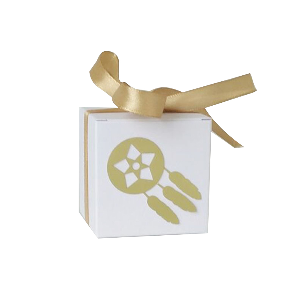 50pcs White Kraft Paper Candy Box Square Container for Wedding Party 5.5*5.5cm Gold wind chimes