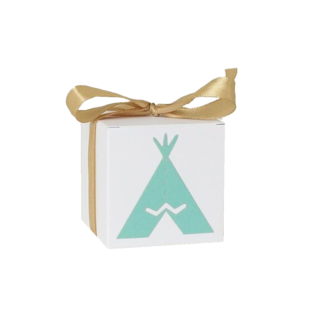 50pcs White Kraft Paper Candy Box Square Container for Wedding Party 5.5*5.5cm Green triangle