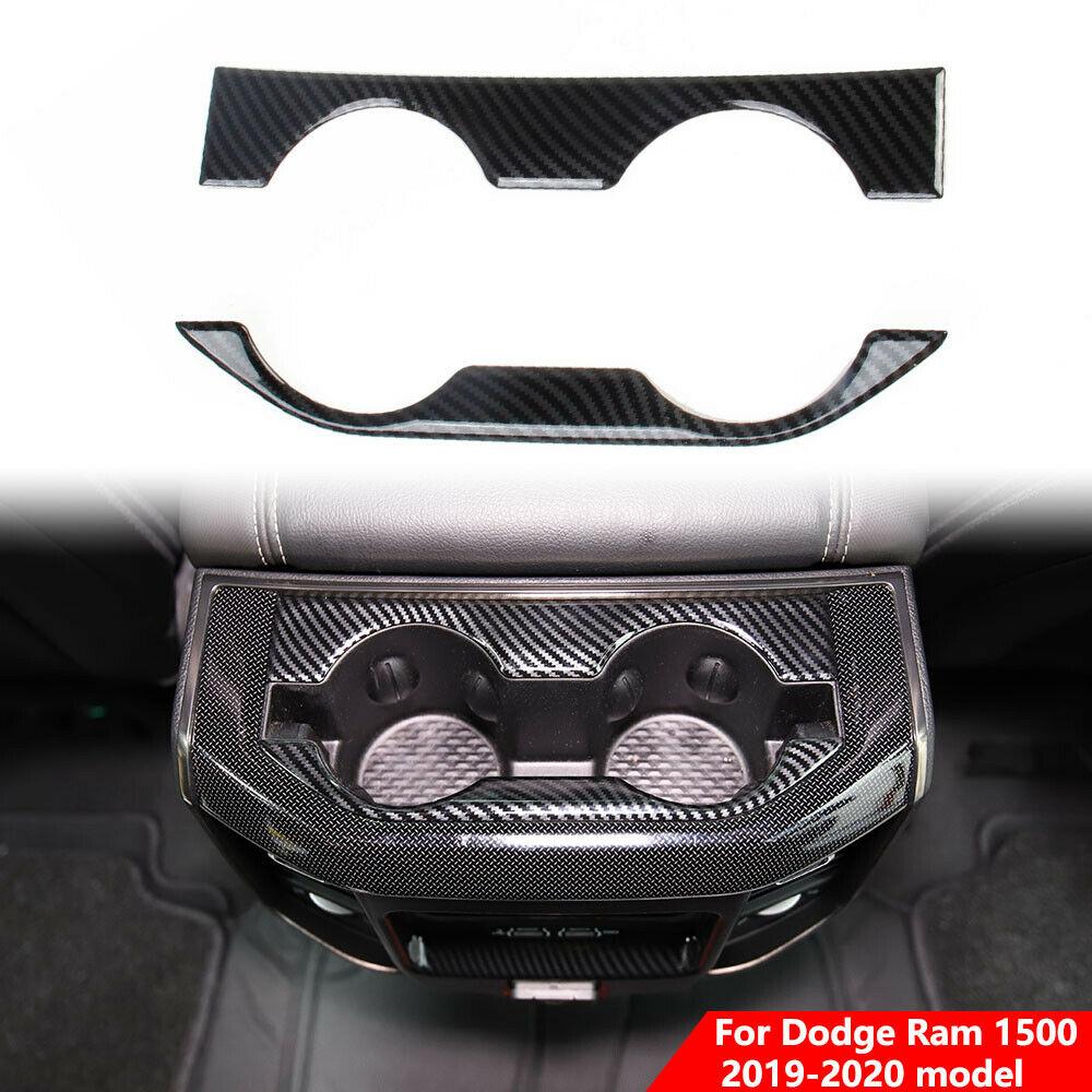Carbon Fiber Inner Rear Cup  Holder  Trim  Cover  Panel For Dodge Ram 1500 2019-21 Carbon black