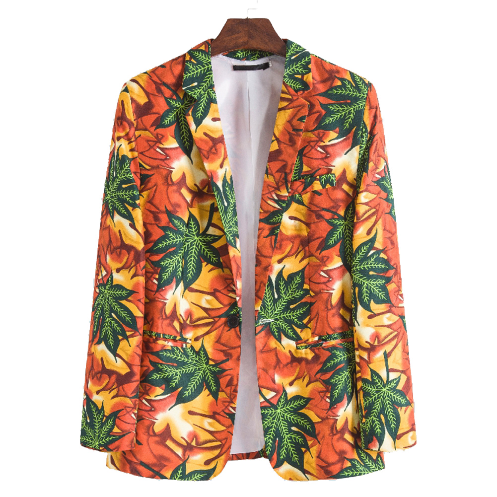 Men Casual Suit Fashion Printing Single Breasted Cotton Blend Coat XF211_M