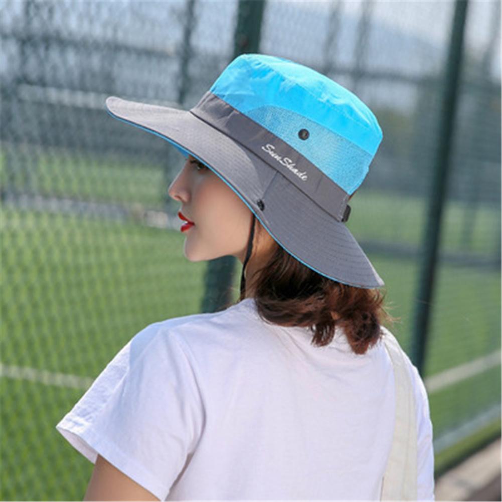 Women Breathable  Wide Brim Sun Hat   Breathable Mesh  Sunscrenn Hat Folding Mountaineering Hat blue