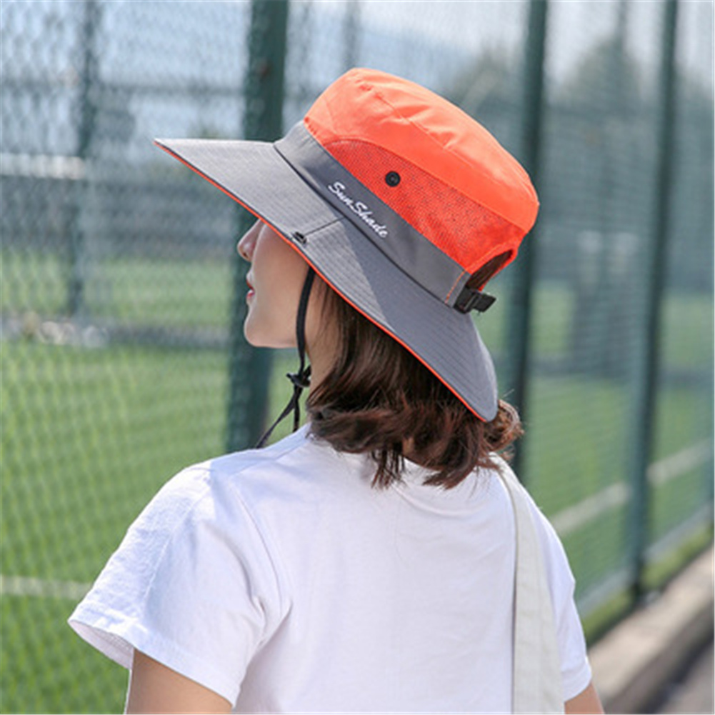 Women Breathable  Wide Brim Sun Hat   Breathable Mesh  Sunscrenn Hat Folding Mountaineering Hat Orange