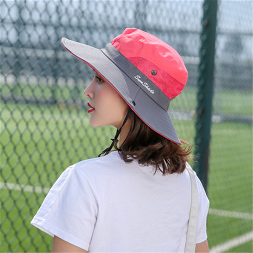Women Breathable  Wide Brim Sun Hat   Breathable Mesh  Sunscrenn Hat Folding Mountaineering Hat rose Red