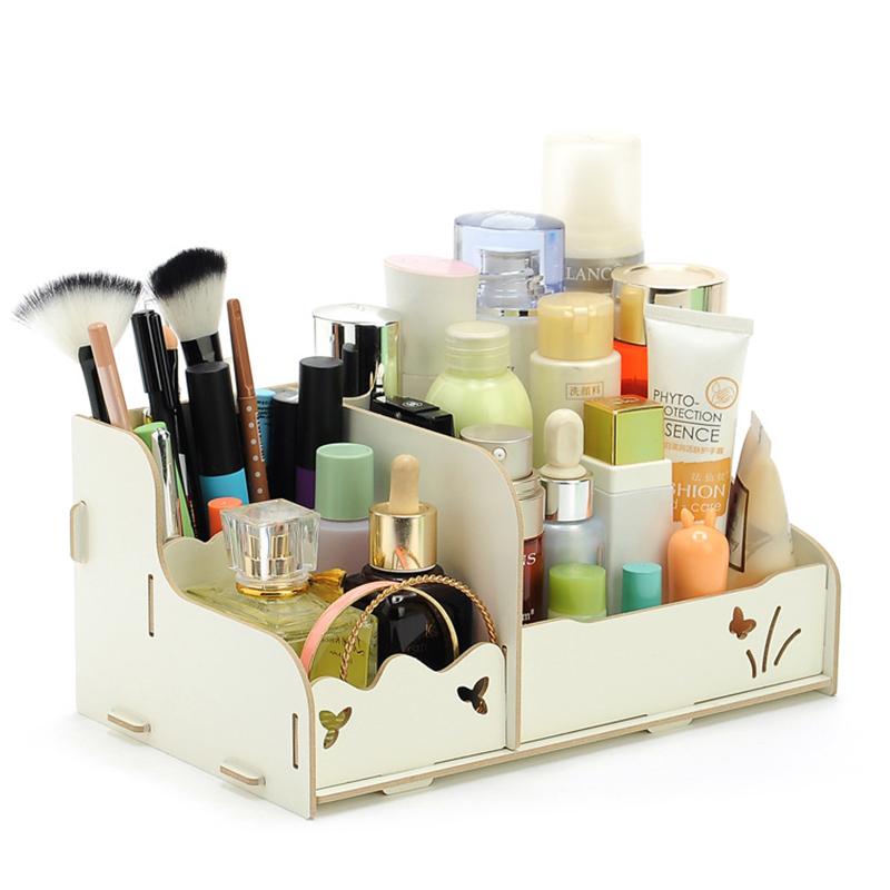 [EU Direct] DIY Wood Beauty Makeup Storage Drawers Box Cosmetics Organizer Removable Case