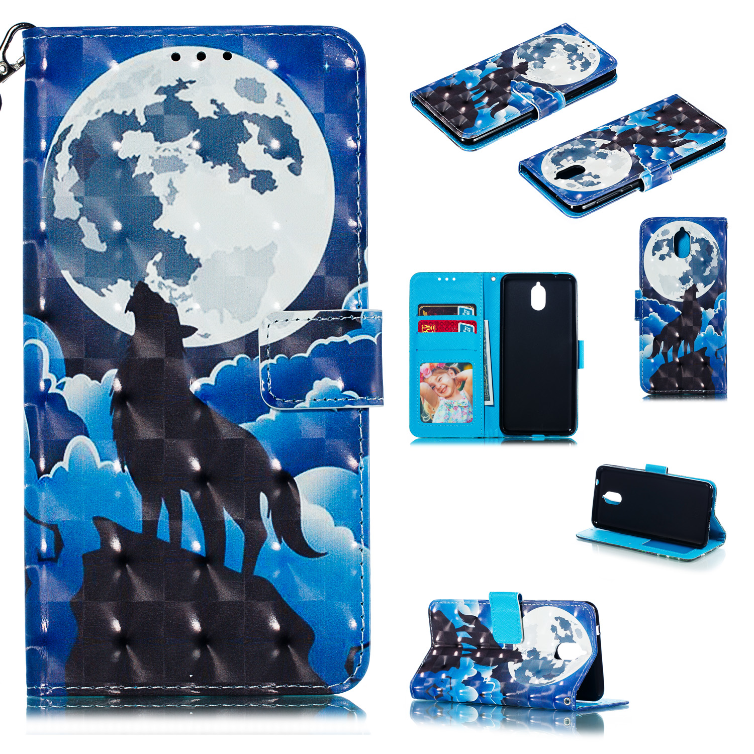 For Nokia 3.1 3D Coloured Painted PU Magnetic Clasp Wallet Stand Phone Case with Lanyard