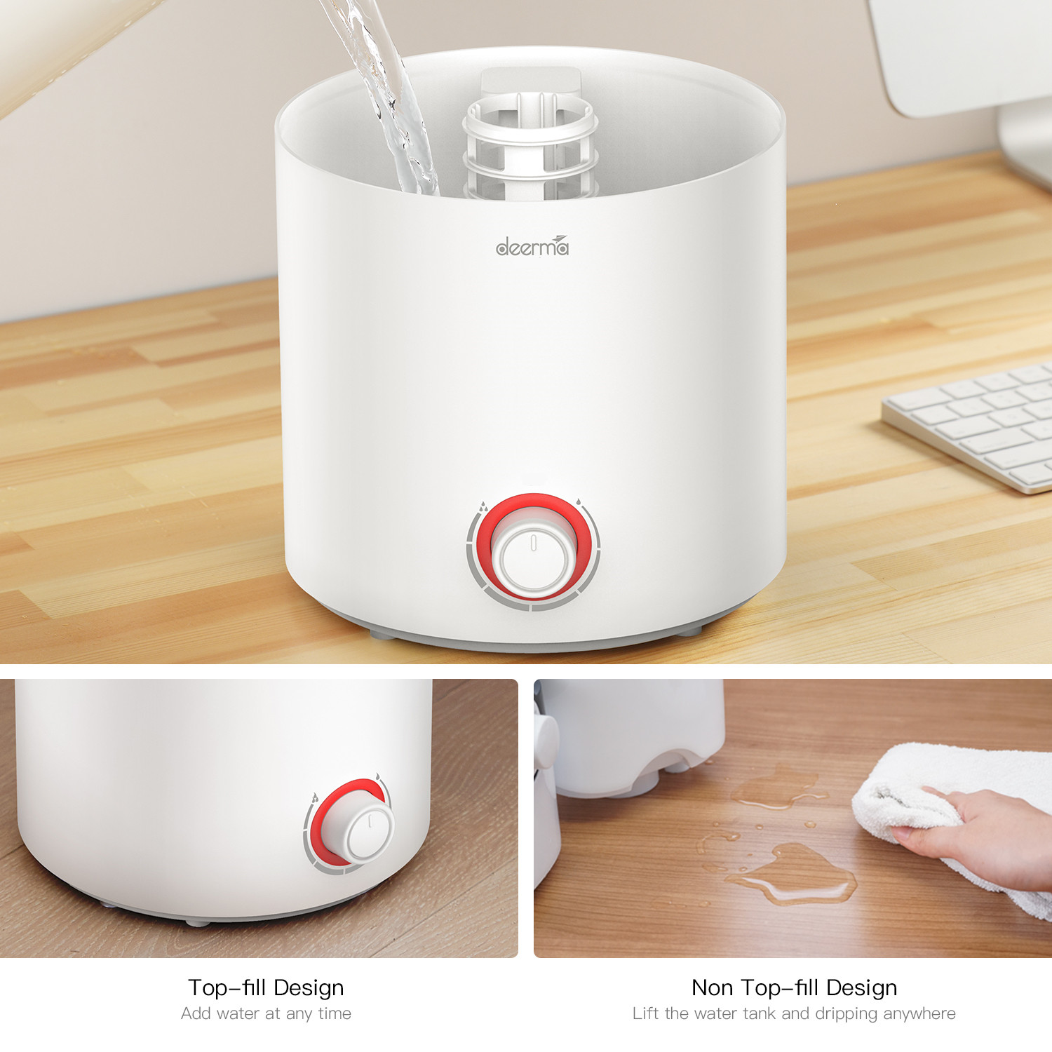 [US Direct] Original DEERMA 2 in 1 Top Fill Ultrasonic Humidifier & Essential Oil Diffuser with 360° Rotatable Mist Outlet, 2.5L Water TankVolume White