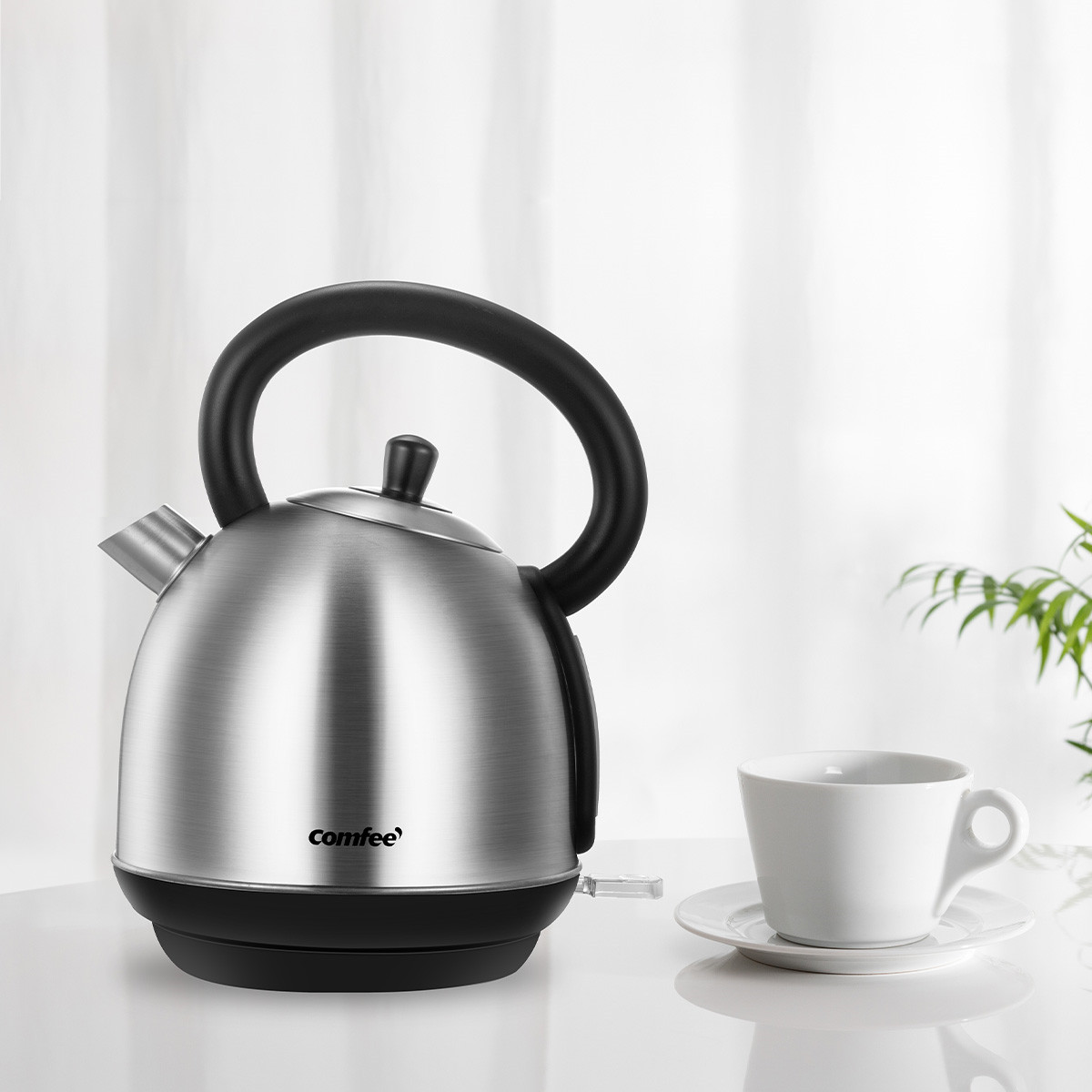 [US Direct] Original COMFEE' 1.8L Stainless Steel Inner Pot and Lid Electric Kettle with Removable Water Filter and Large Spout. Auto Shut-off & Boil-dry Protection, 1500W Silver/Black_1.8 L