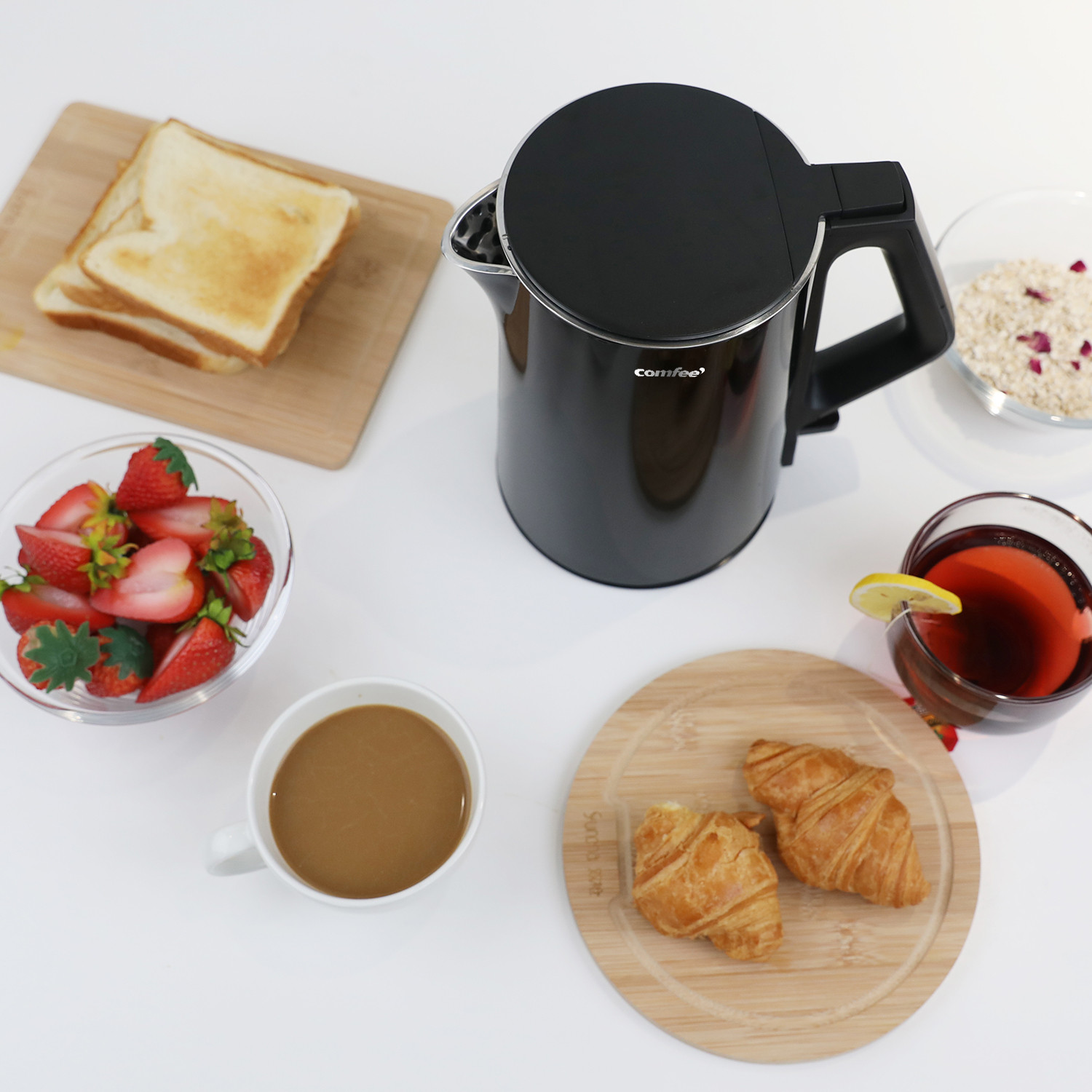 [US Direct] Original COMFEE' 1.5L Double Wall Electric Kettle with Stainless Steel Inner Pot and Lid. Cool Touch/BPA Free. 1500W. Auto Shut-Off/Boil Dry Protection (Black) Black_1.5 L