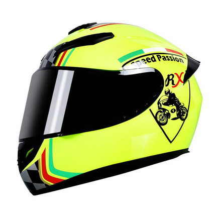 Motorcycle Helmet cool Modular Moto Helmet With Inner Sun Visor Safety Double Lens Racing Full Face the Helmet Moto Helmet Knight yellow passion_L