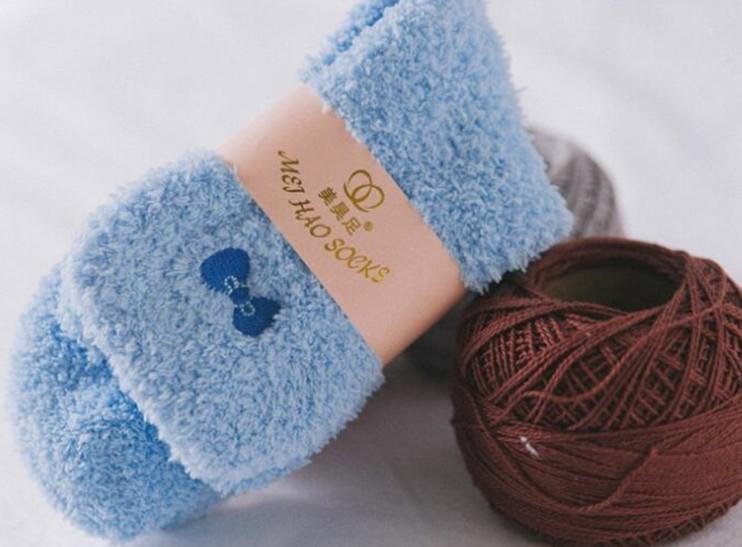 Women's Candy Color Sweet Bow Fuzzy Socks Autumn Winter Cozy Socks Bed Socks (Sky Blue)