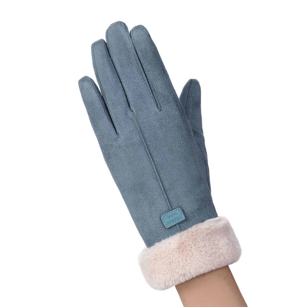 Women Winter Warm Windproof  Gloves Touch Screen Thicken Full Finger Gloves  081C bean green_One size