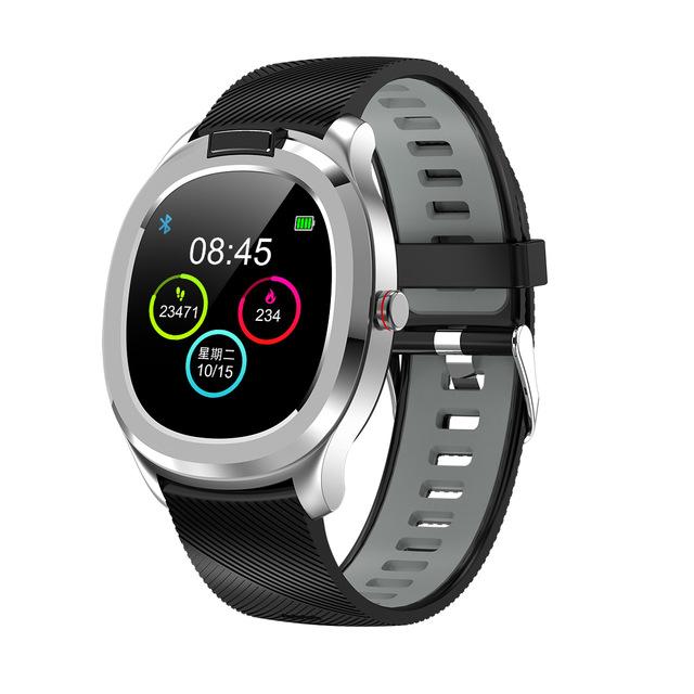 Plastic Smart Bracelet Watch Body Temperature Detection Heart Rate Blood Pressure IP68 Waterproof Silver grey