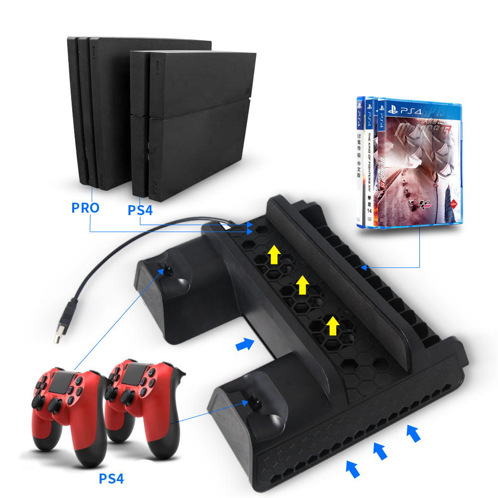 USB Vertical Chargers Stand with Cooling Fan Dual Controllers Charging Station for PS4 Slim/Pro black