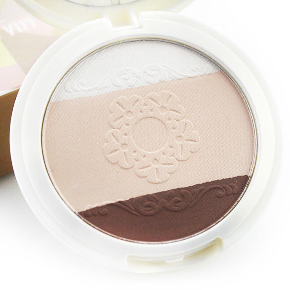 3 Colors 3D Makeup Powder Bronzer Nose Shadow Highlighter Powder Brighten Face Foundation Palette