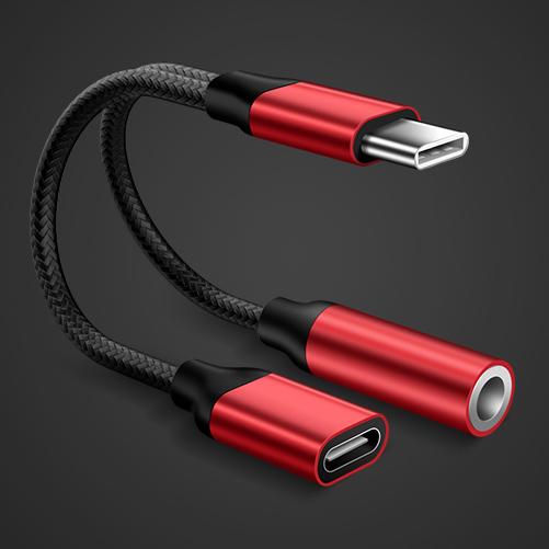 3.5mm Headphone Jack Type-C USB C Audio Adapter Earphone to Type C Charge Listen for USB-C Phone Without 3.5MM for Huawei Xiaomi red