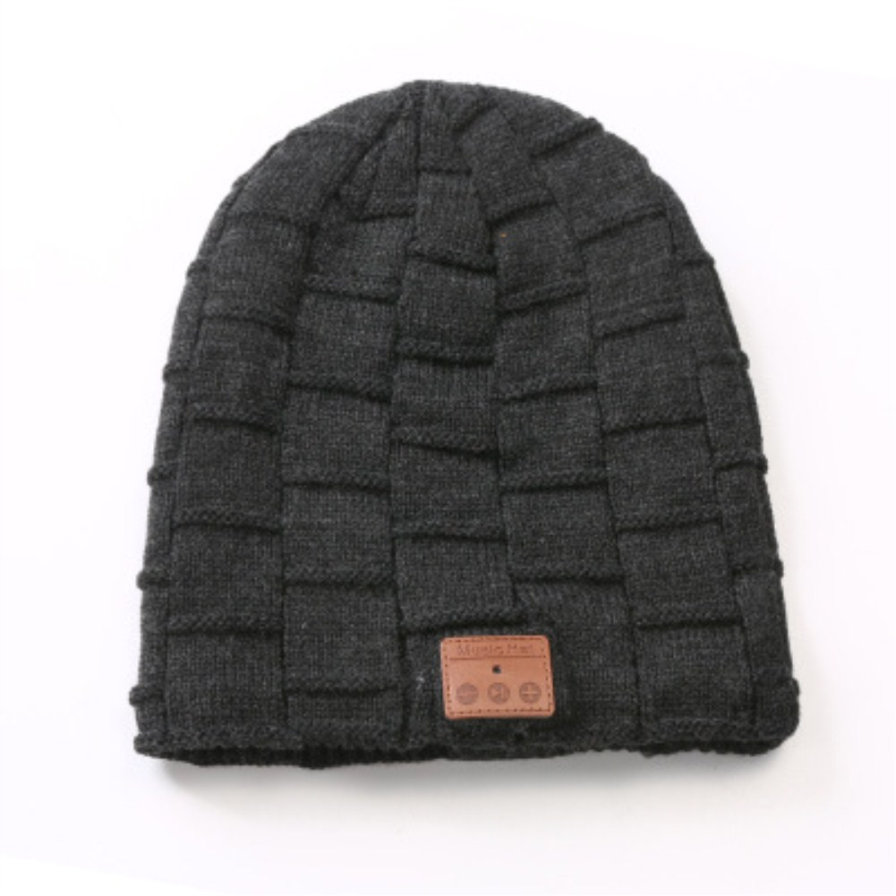 V5.0 Beanie Knitted Plus Velvet Pony Tail Wireless Headset Call Music Cap Dark heather grey