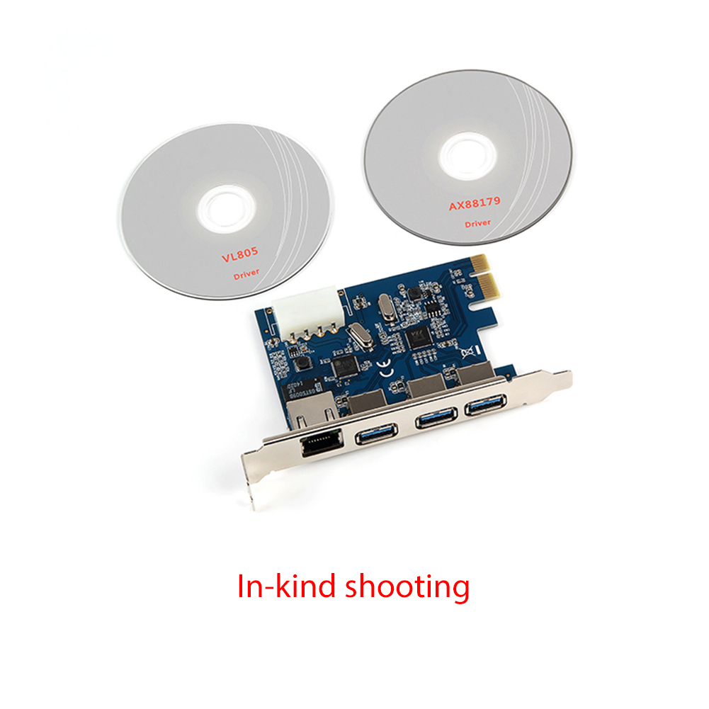 Stable Efficient PCI-E 3-port USB3.0 External + Gigabit Network Interface Expansion Card with 4PIN Power Supply Interface blue