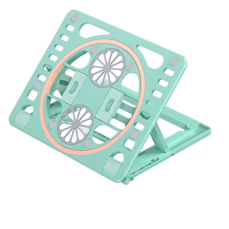 Foldable  Laptop  Table  Stand Light Thin Portable Double Cooling Fan Desktop Hollow Cooling Bracket Green