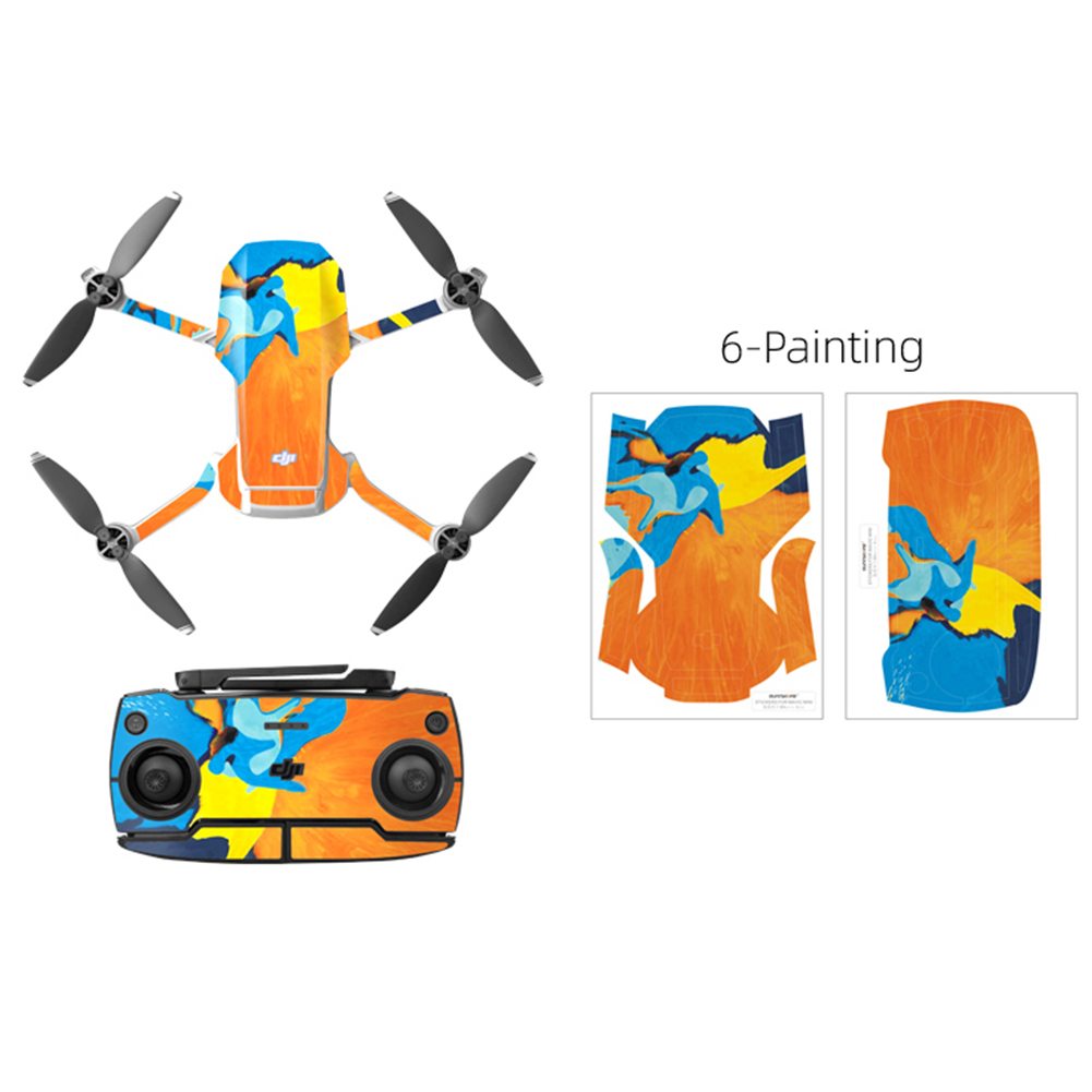 PVC Shell Decoration Sticker for DJI Mavic Mini Drone Body Arm and Controller Waterproof Anti-Scratch Full Protective Film watercolor