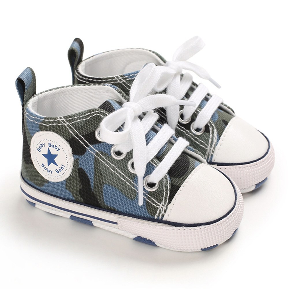 Baby Shoes Soft-soled Canvas Multicolor Toddler Shoes for 0-18m Babies Blue camouflage_12CM bottom length