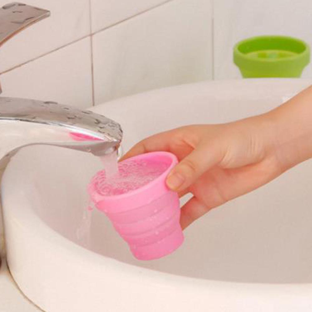Retractable Folding Silicone Water Cup -Pink