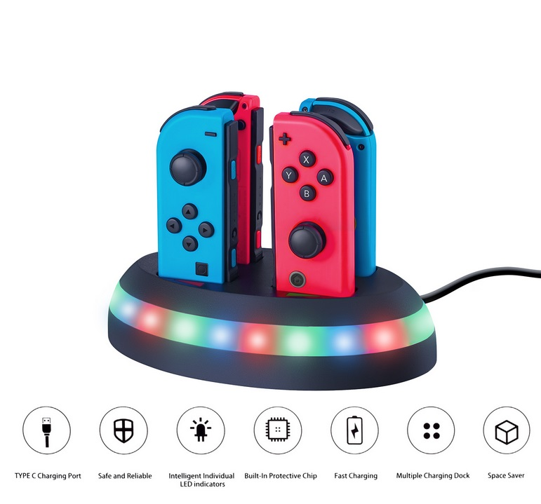 4-in-1 Controller Charger Station Fast Charging Dock Stand with LED Light for Nintendo Switch Joy-con black